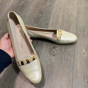 Salvatore Ferragamo cream colored loafers